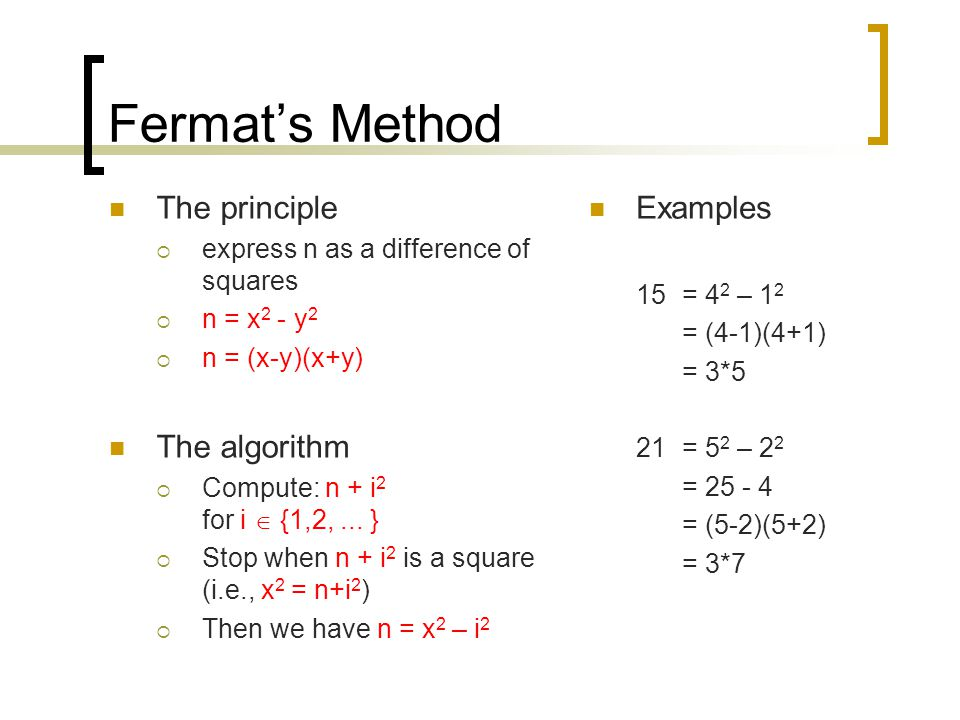 Fermat's Method The principle The algorithm Examples