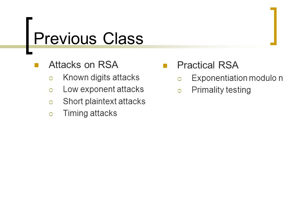 Previous Class Attacks on RSA Practical RSA Known digits attacks