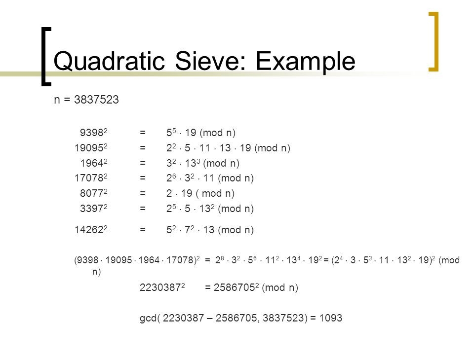 Quadratic Sieve: Example