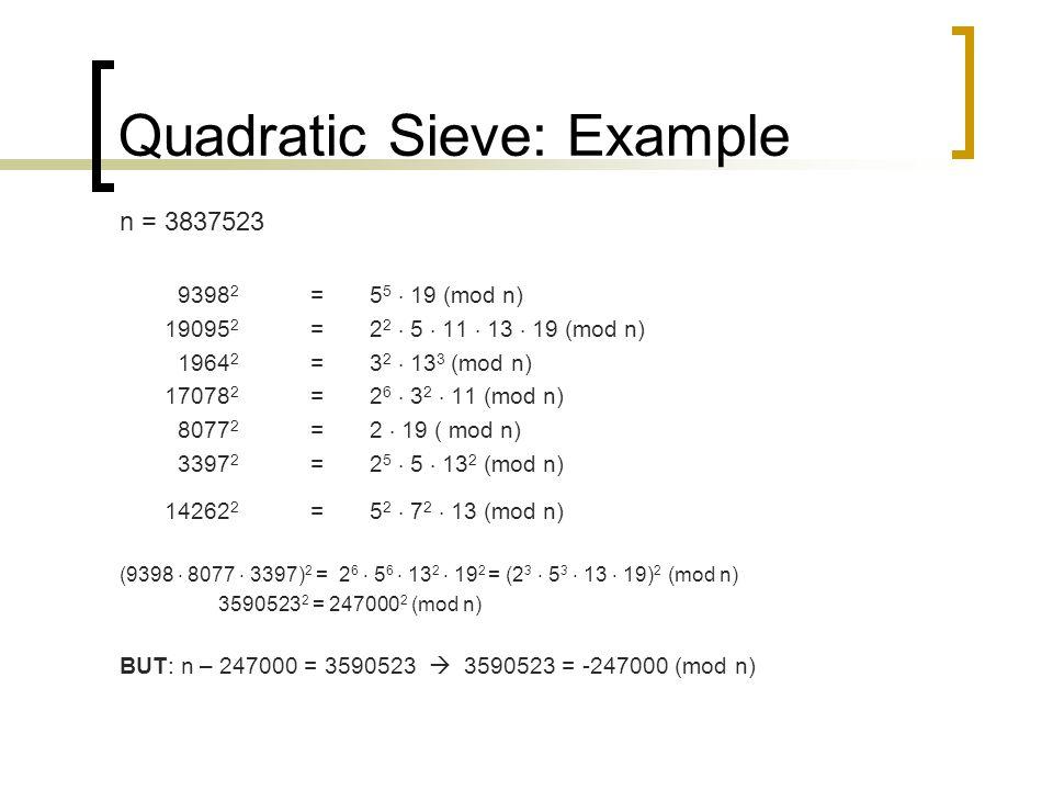 Quadratic Sieve: Example