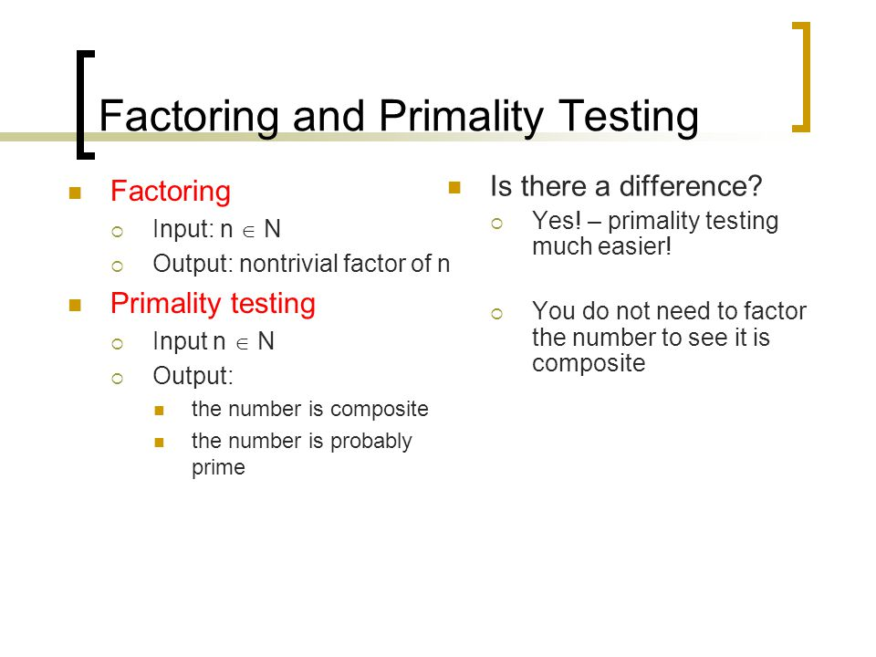 Factoring and Primality Testing