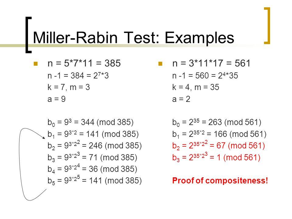 Miller-Rabin Test: Examples