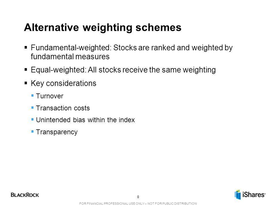 Alternative weighting schemes