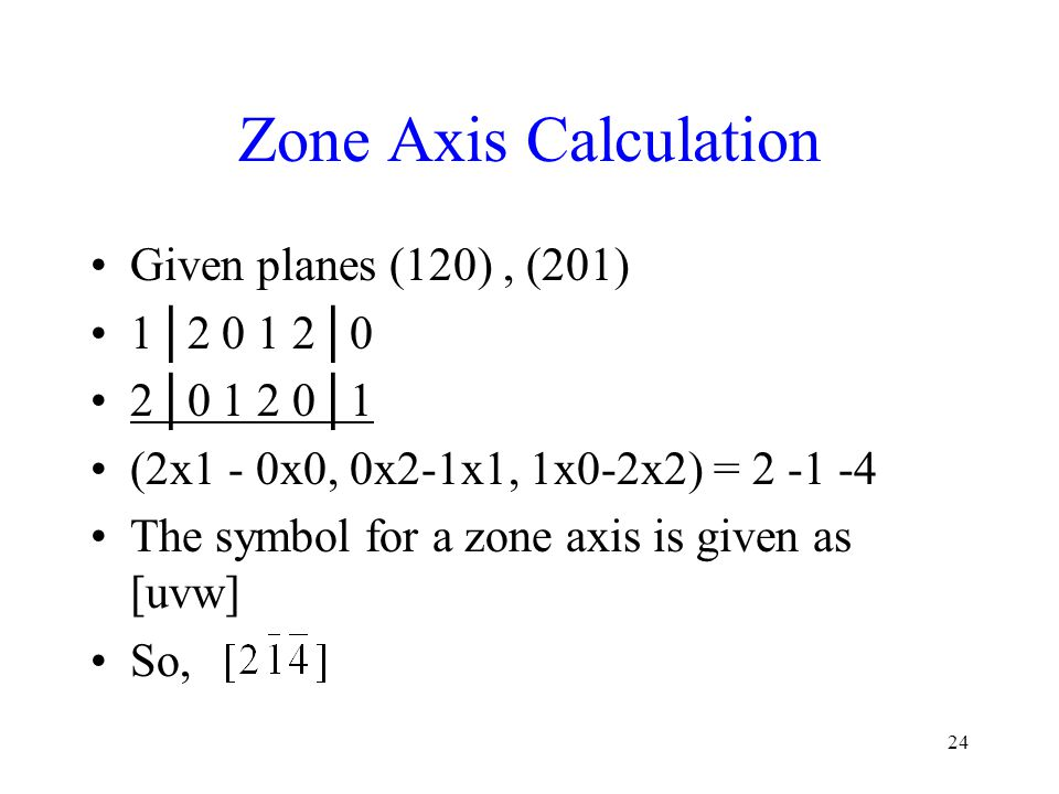 Zone Axis Calculation Given planes (120) , (201) 1│2 0 1 2│0