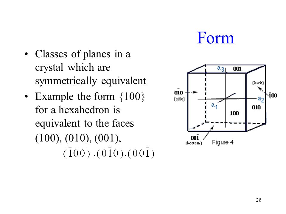 Form Classes of planes in a crystal which are symmetrically equivalent