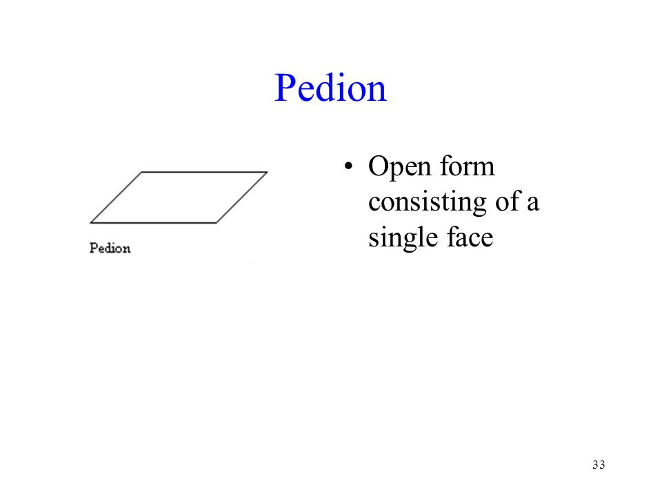 Pedion Open form consisting of a single face