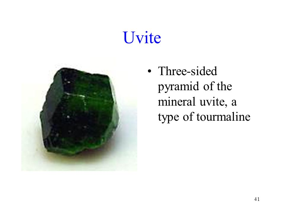 Uvite Three-sided pyramid of the mineral uvite, a type of tourmaline