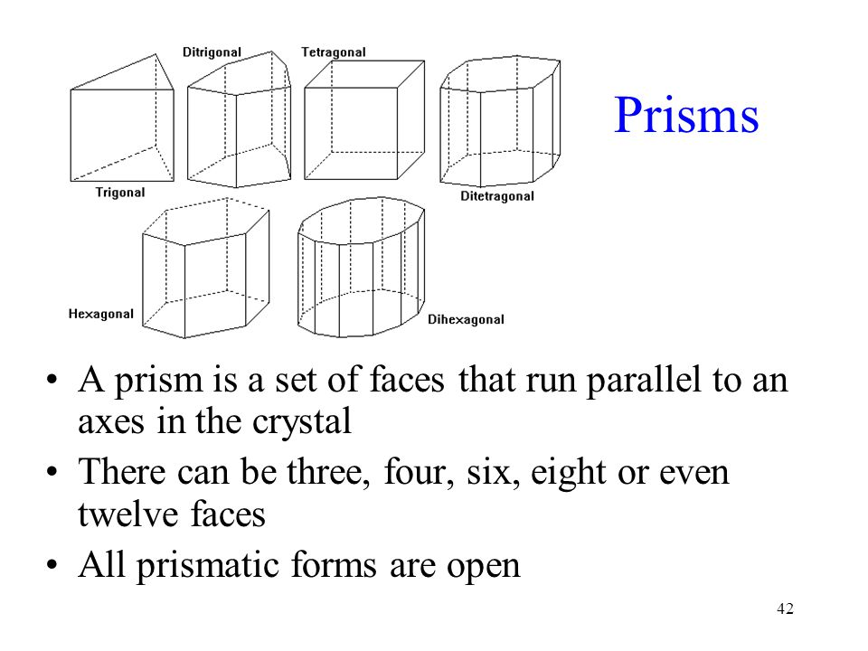 Prisms A prism is a set of faces that run parallel to an axes in the crystal. There can be three, four, six, eight or even twelve faces.