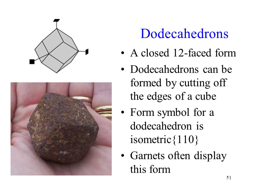 Dodecahedrons A closed 12-faced form