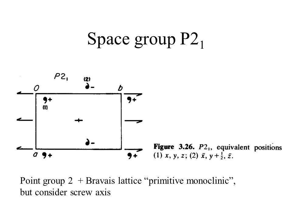 Space group P21 Point group 2 + Bravais lattice primitive monoclinic , but consider screw axis