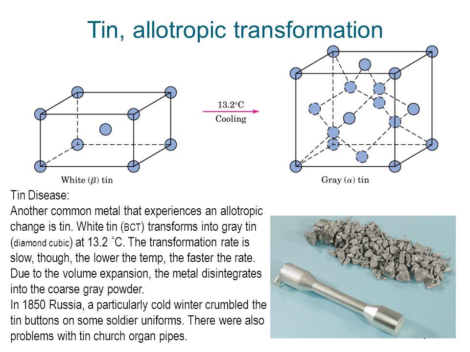 Tin, allotropic transformation