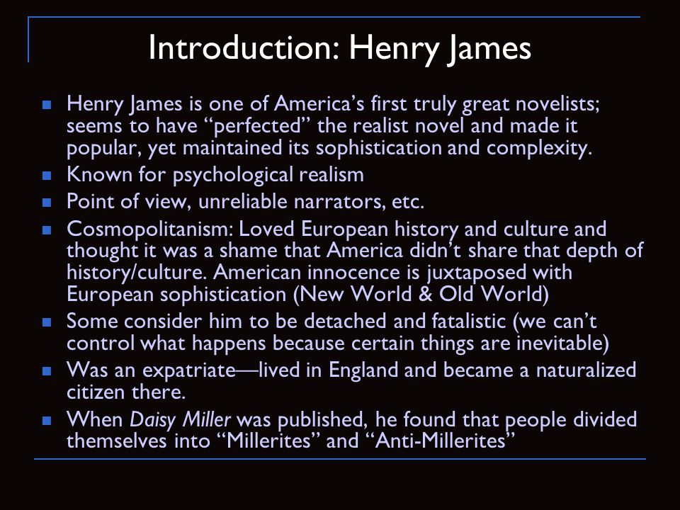 Introduction: Henry James