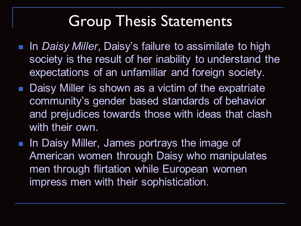 Group Thesis Statements