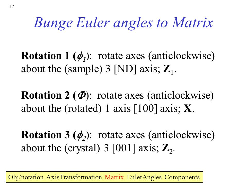 Bunge Euler angles to Matrix