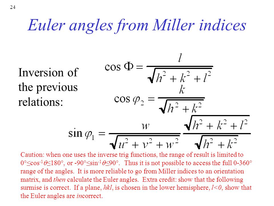 Euler angles from Miller indices
