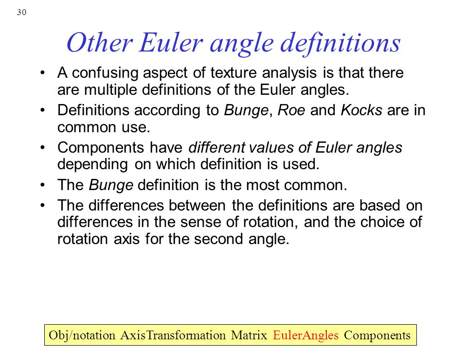 Other Euler angle definitions