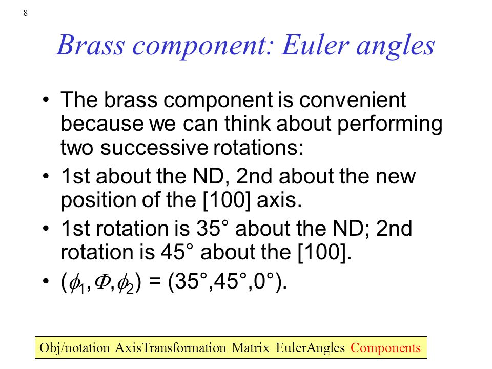 Brass component: Euler angles