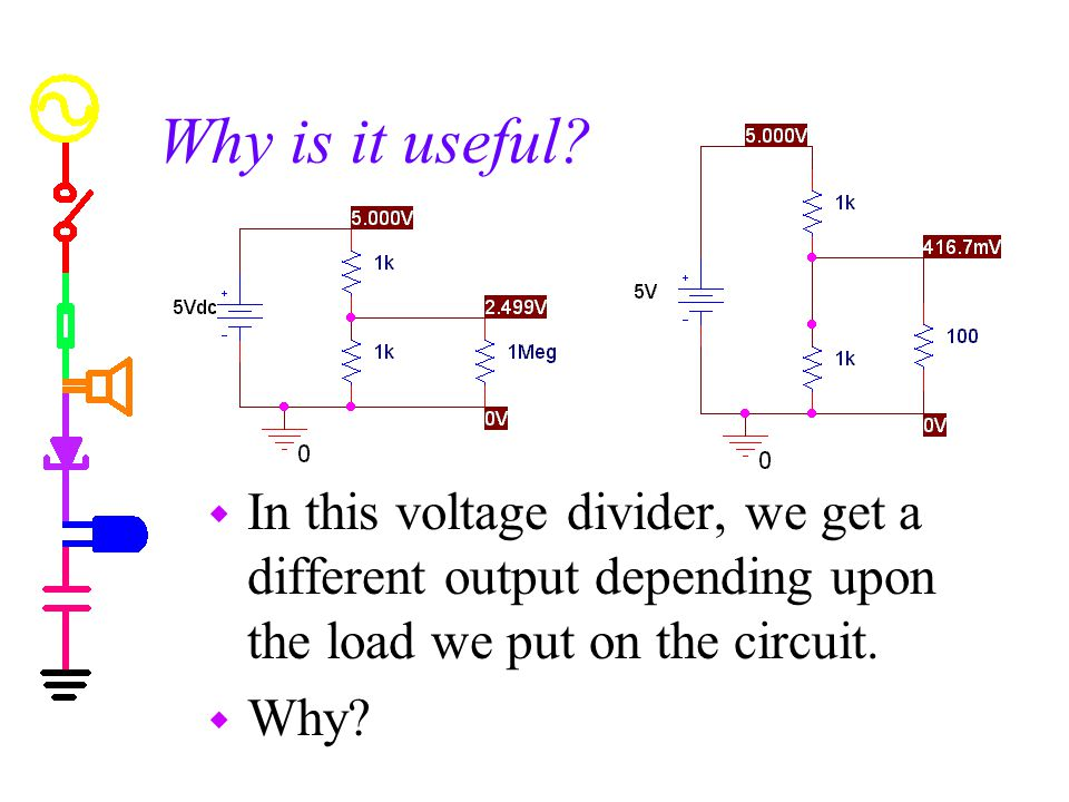 Why is it useful In this voltage divider, we get a different output depending upon the load we put on the circuit.