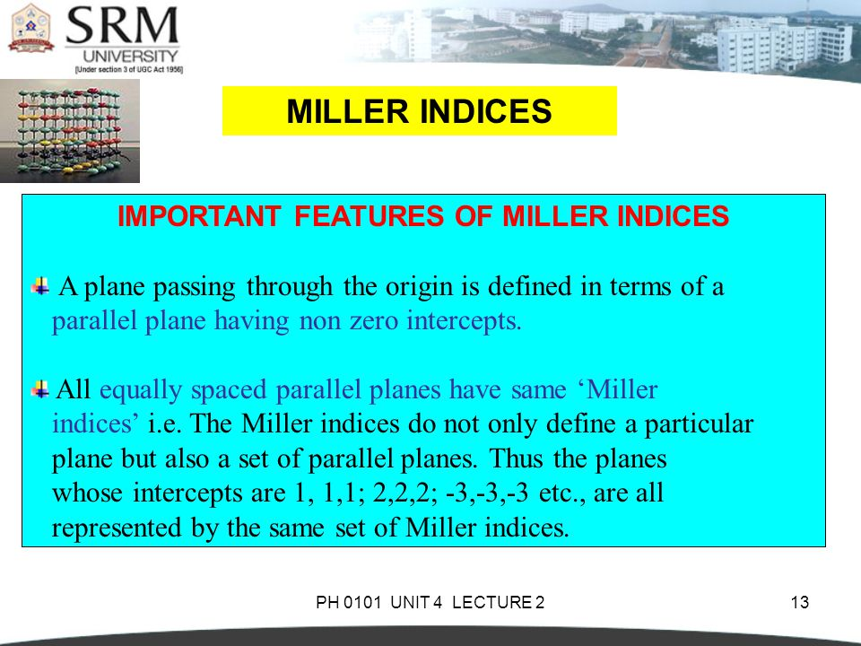 IMPORTANT FEATURES OF MILLER INDICES