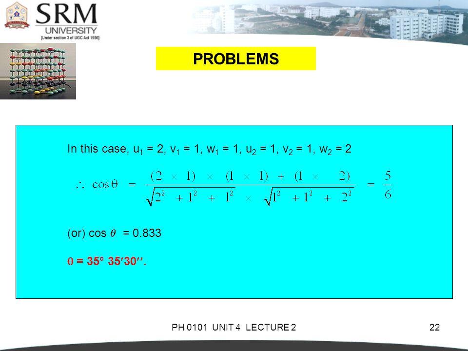 PROBLEMS In this case, u1 = 2, v1 = 1, w1 = 1, u2 = 1, v2 = 1, w2 = 2