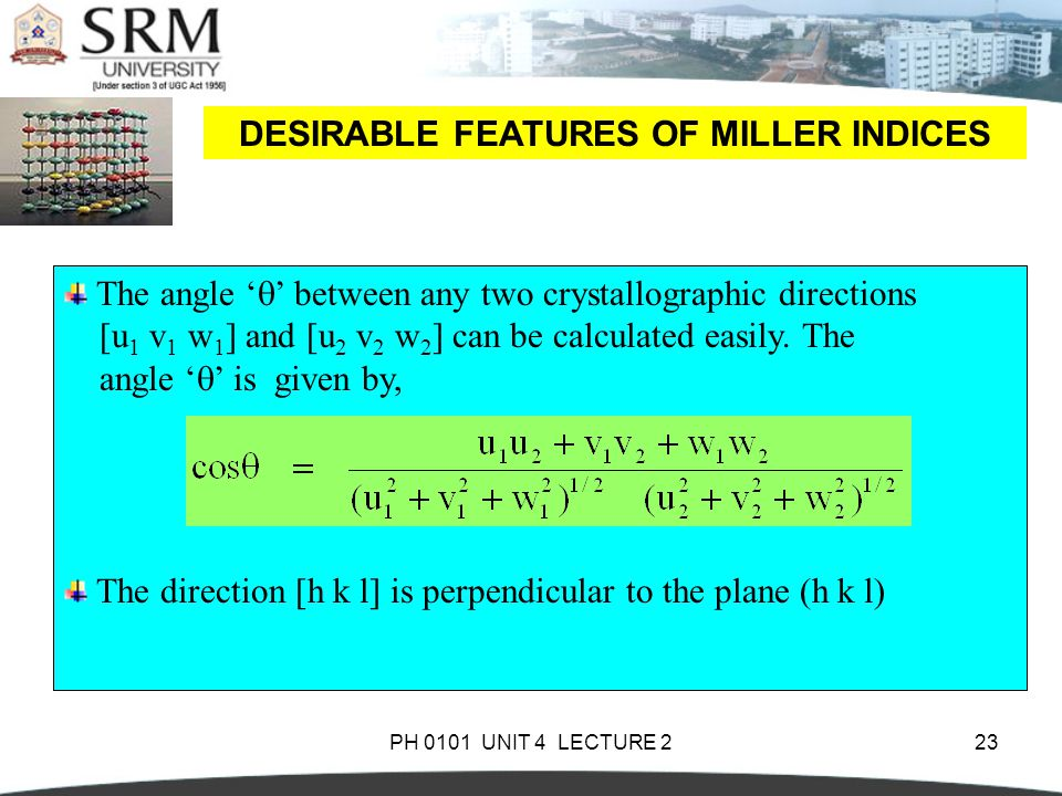 DESIRABLE FEATURES OF MILLER INDICES