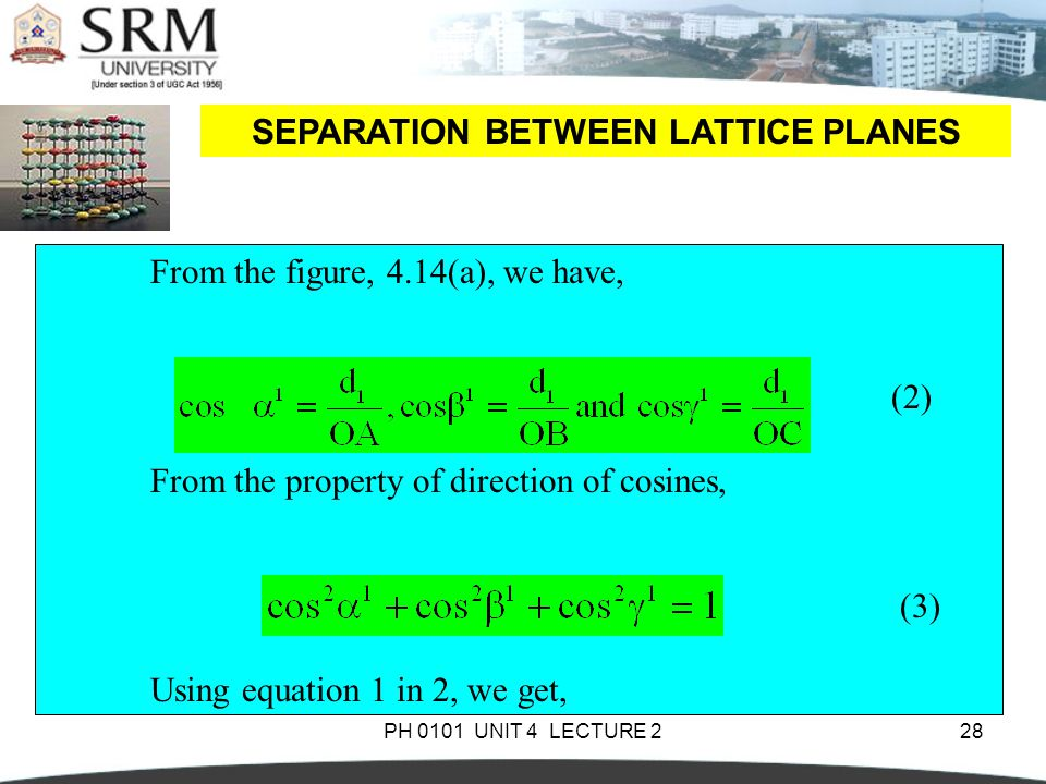 SEPARATION BETWEEN LATTICE PLANES