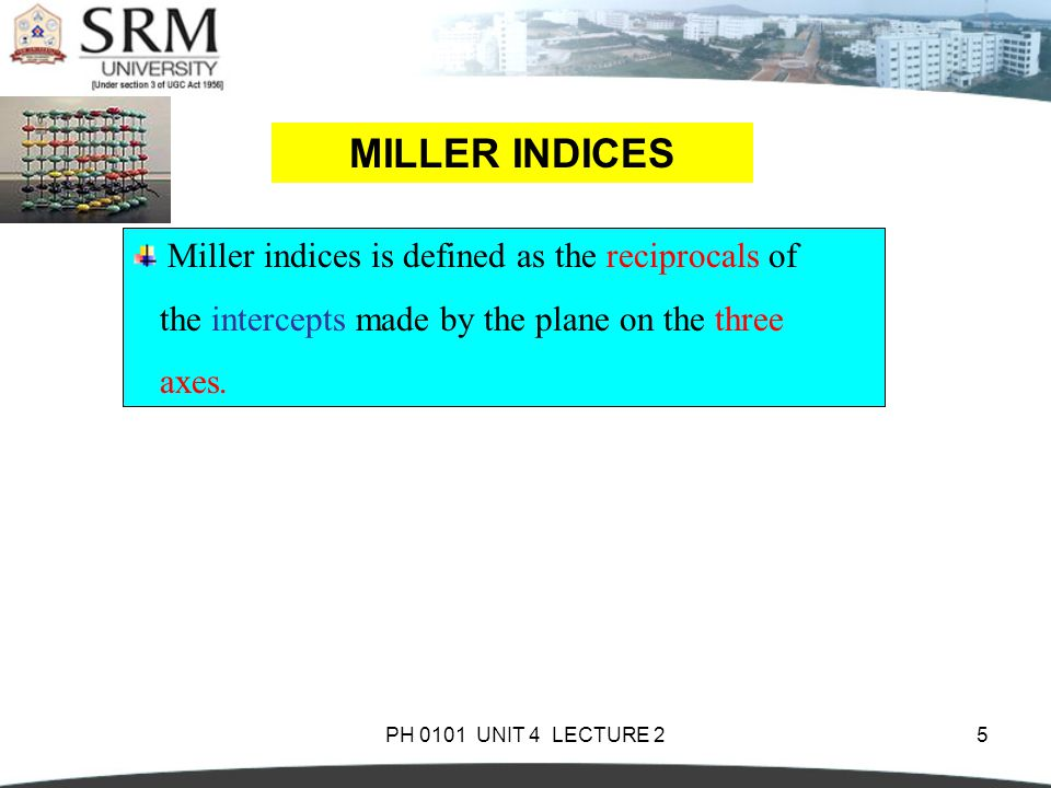 MILLER INDICES Miller indices is defined as the reciprocals of