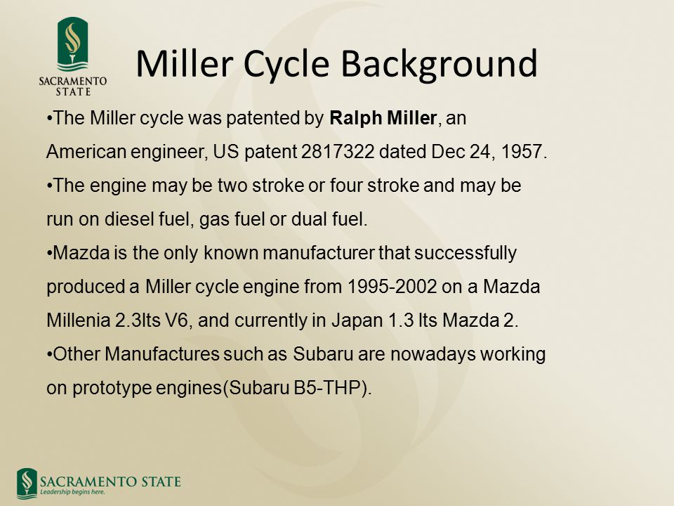 Miller Cycle Background