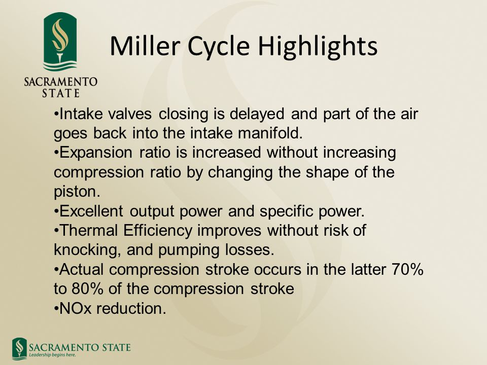 Miller Cycle Highlights