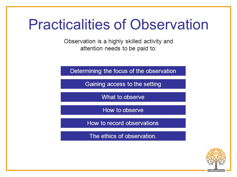 Practicalities of Observation