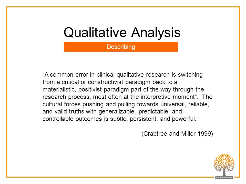 Qualitative Analysis Describing