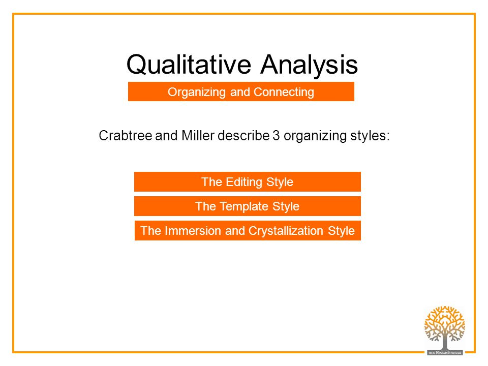 Qualitative Analysis Crabtree and Miller describe 3 organizing styles: