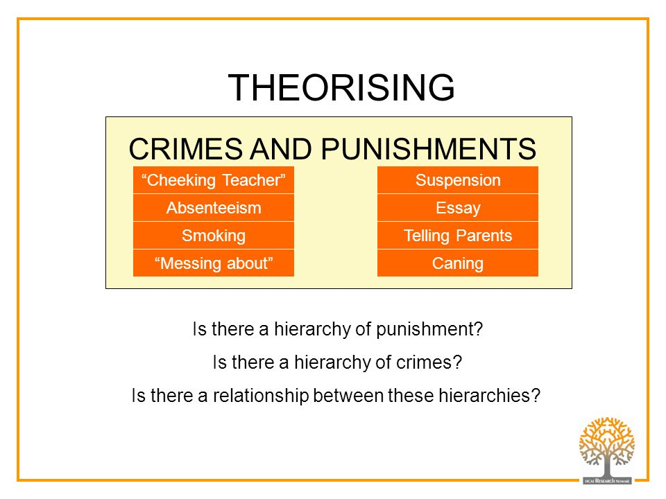 THEORISING CRIMES AND PUNISHMENTS Is there a hierarchy of punishment