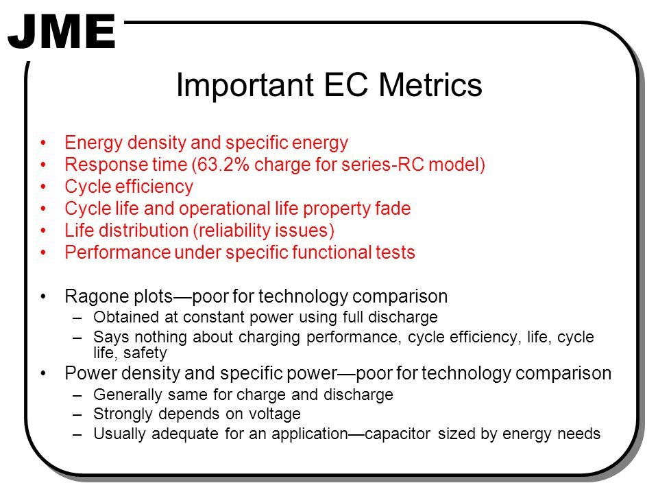 EC Discharge/Charge Cycle for Energy-Efficiency Model Calculations (Use Series-RC Circuit Model)
