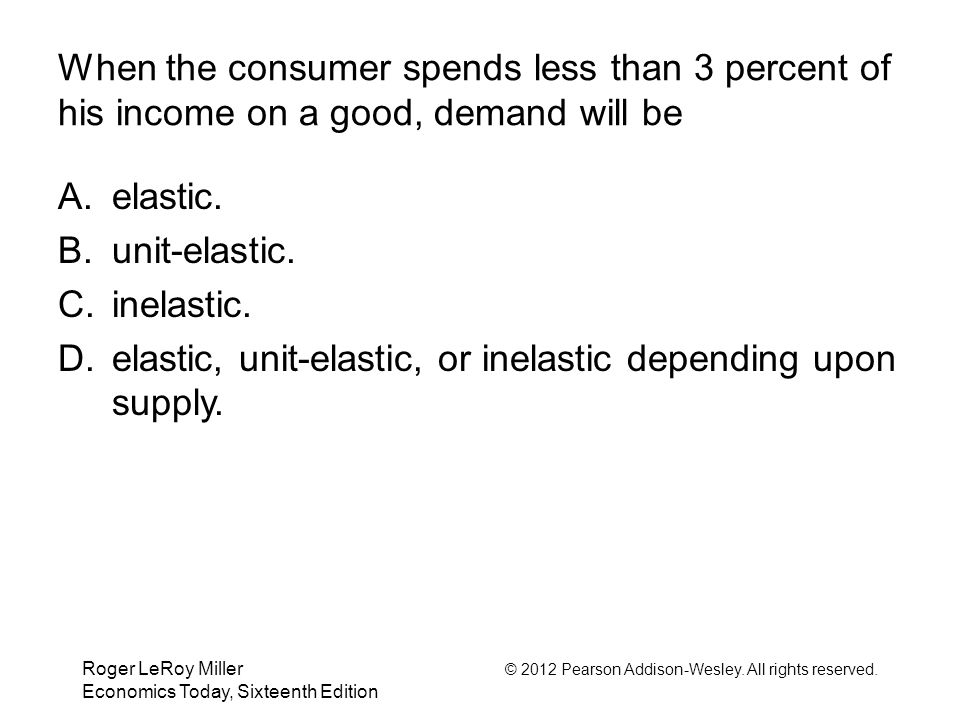 elastic, unit-elastic, or inelastic depending upon supply.