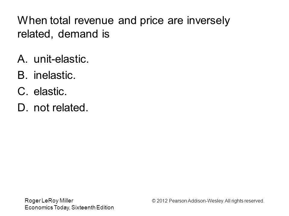 When total revenue and price are inversely related, demand is