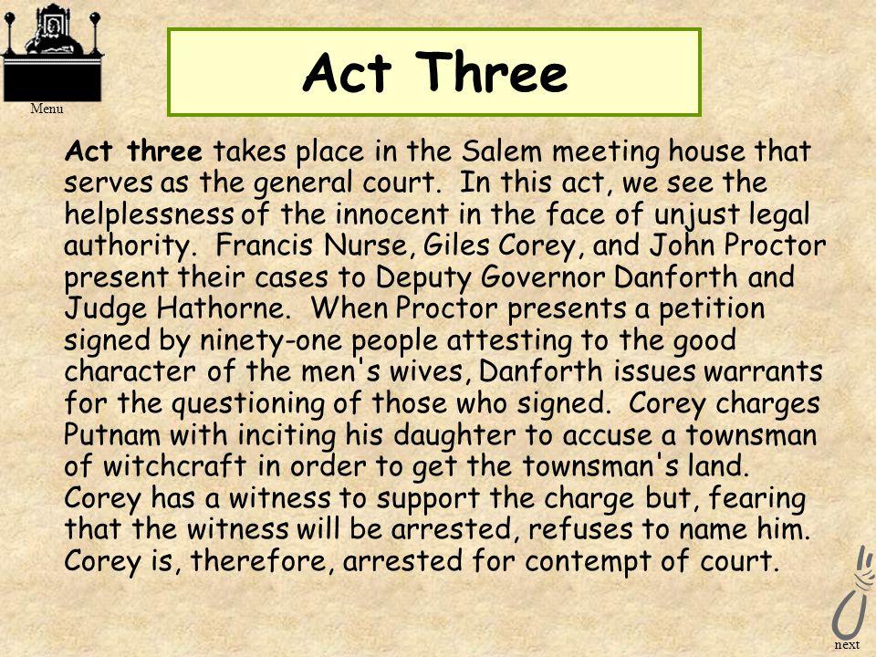 Act Three Menu.