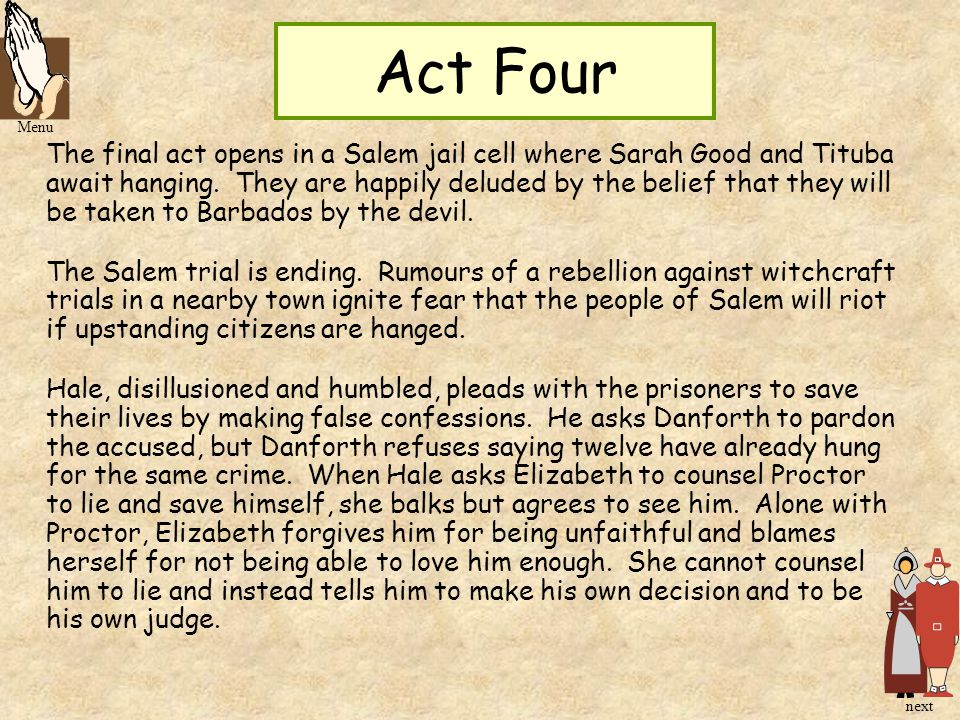 Act Four Menu.