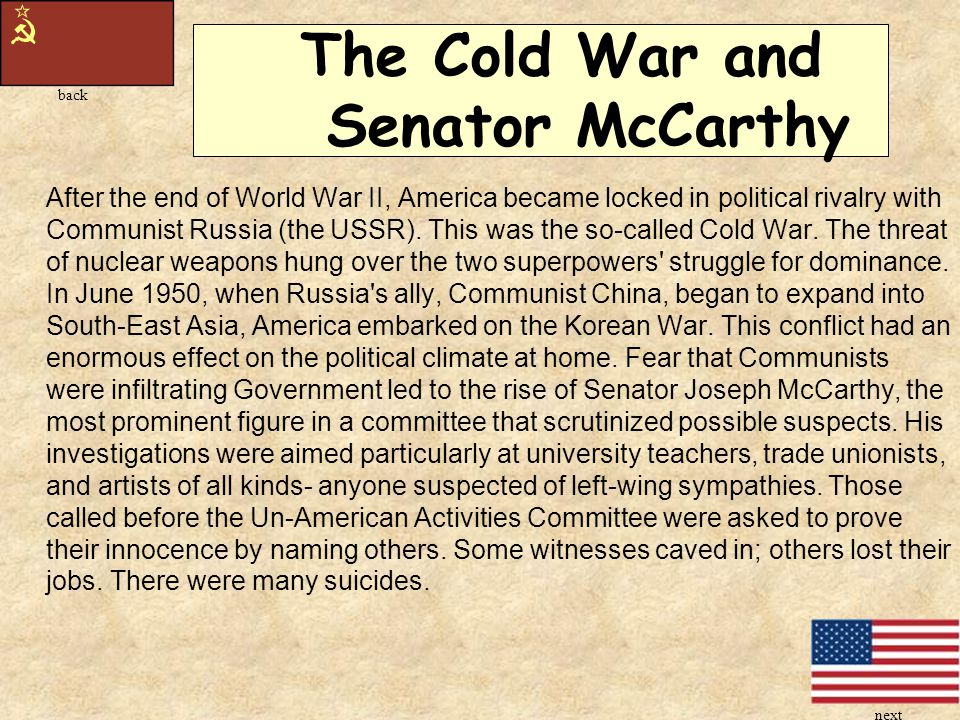 The Cold War and Senator McCarthy