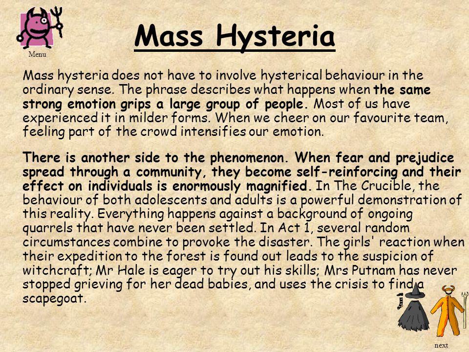 Mass Hysteria Menu.