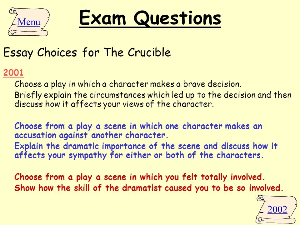 the crucible arthur miller ppt  exam questions essay choices for the crucible menu 2002 2001