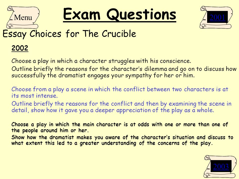 essay questions for the crucible by arthur miller Analytical essay for the crucible by arthur miller the crucible by arthur miller is an interpretation of the salem witch trials of 1692 in puritan massachusetts in which religion, justice, individuality and dignity play a vital role.