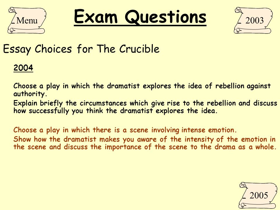 the crucible essay questions and answers Crucible essay questions answers crucible essay questions answers - in this site is not the similar as a answer manual you purchase in a compilation store or download off the web our more than 4,110 manuals and ebooks is the excuse why.