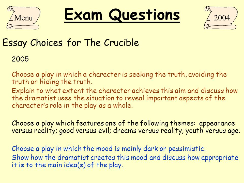 exam essay questions on the crucible Ap literature open-ended prompts (1970-2017) 1970 choose a character from a novel or play of recognized literary merit and write an essay in which you (a) briefly describe the.