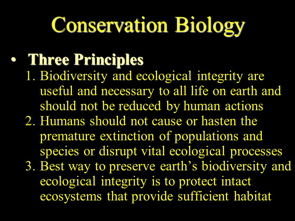 Conservation Biology Three Principles