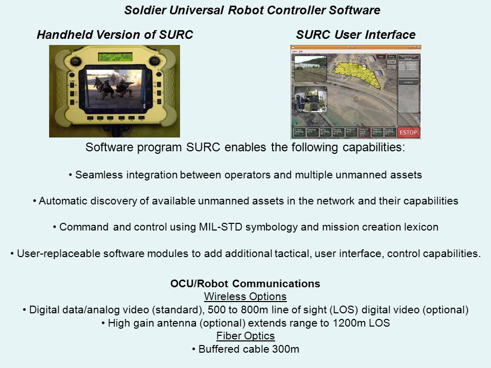 Handheld Version of SURC OCU/Robot Communications