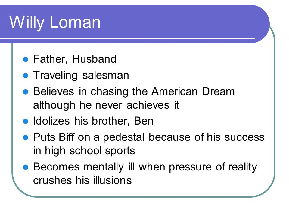 Willy Loman Father, Husband Traveling salesman