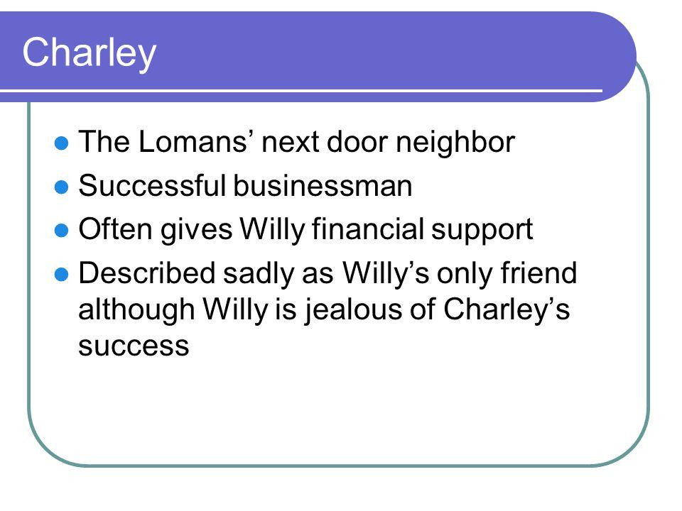 Charley The Lomans' next door neighbor Successful businessman
