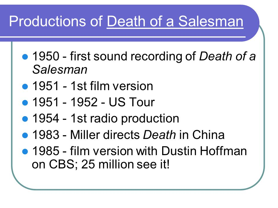 Productions of Death of a Salesman