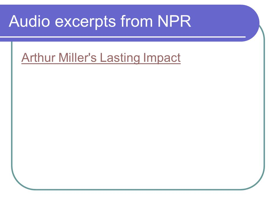 Audio excerpts from NPR